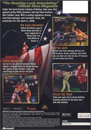 Box back cover for Rocky: Legends on the Microsoft Xbox.
