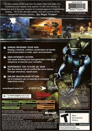 Box back cover for Rogue Trooper on the Microsoft Xbox.