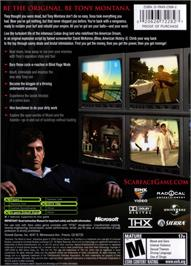 Box back cover for Scarface: The World is Yours on the Microsoft Xbox.