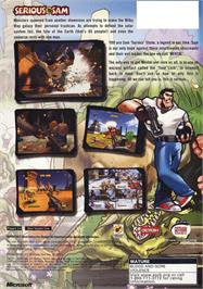 Box back cover for Serious Sam on the Microsoft Xbox.