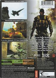 Box back cover for Shadow Ops: Red Mercury on the Microsoft Xbox.