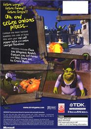 Box back cover for Shrek on the Microsoft Xbox.