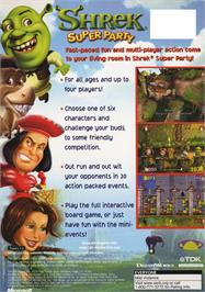 Box back cover for Shrek Super Party on the Microsoft Xbox.