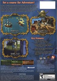 Box back cover for Sid Meier's Pirates on the Microsoft Xbox.