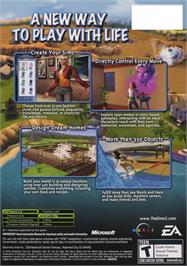 Box back cover for Sims 2 on the Microsoft Xbox.