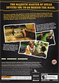 Box back cover for Sneak King on the Microsoft Xbox.