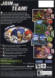 Box back cover for Sonic Heroes on the Microsoft Xbox.