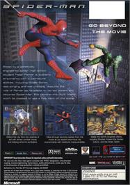 Box back cover for Spider-Man: The Movie on the Microsoft Xbox.