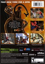 Box back cover for Spider-Man 2 on the Microsoft Xbox.