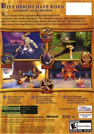 Box back cover for Spyro: A Hero's Tail on the Microsoft Xbox.