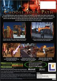 Box back cover for Star Wars: Knights of the Old Republic on the Microsoft Xbox.