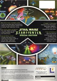 Box back cover for Star Wars: Starfighter on the Microsoft Xbox.