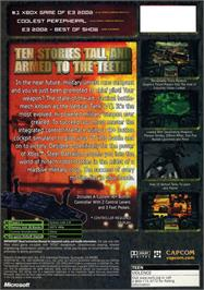 Box back cover for Steel Battalion on the Microsoft Xbox.