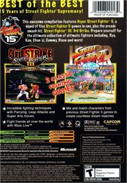 Box back cover for Street Fighter: Anniversary Collection on the Microsoft Xbox.