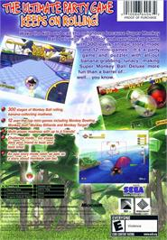 Box back cover for Super Monkey Ball Deluxe on the Microsoft Xbox.