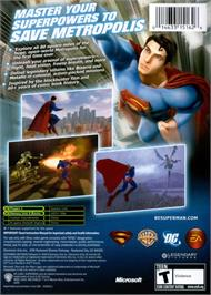 Box back cover for Superman Returns on the Microsoft Xbox.