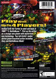 Box back cover for Teenage Mutant Ninja Turtles 2: Battle Nexus on the Microsoft Xbox.
