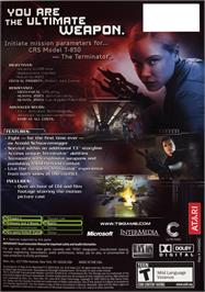 Box back cover for Terminator 3: Rise of the Machines on the Microsoft Xbox.