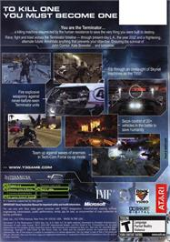 Box back cover for Terminator 3: The Redemption on the Microsoft Xbox.