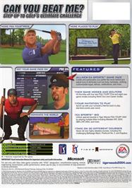 Box back cover for Tiger Woods PGA Tour 2004 on the Microsoft Xbox.