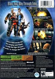 Box back cover for TimeSplitters: Future Perfect on the Microsoft Xbox.