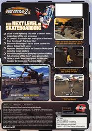 Box back cover for Tony Hawk's Pro Skater 2x on the Microsoft Xbox.