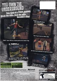Box back cover for Tony Hawk's Underground on the Microsoft Xbox.