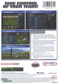 Box back cover for Total Club Manager 2005 on the Microsoft Xbox.