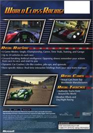 Box back cover for Total Immersion Racing on the Microsoft Xbox.