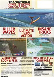 Box back cover for TransWorld SURF on the Microsoft Xbox.