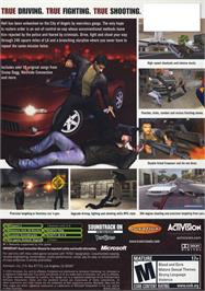Box back cover for True Crime: Streets of LA on the Microsoft Xbox.