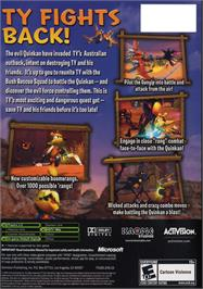 Box back cover for Ty the Tasmanian Tiger 3: Night of the Quinkan on the Microsoft Xbox.