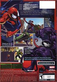 Box back cover for Ultimate Spider-Man on the Microsoft Xbox.