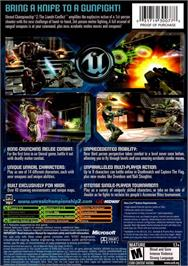 Box back cover for Unreal Championship 2: The Liandri Conflict on the Microsoft Xbox.