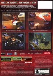 Box back cover for Unreal II: The Awakening on the Microsoft Xbox.