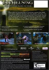 Box back cover for Van Helsing on the Microsoft Xbox.