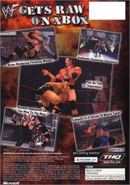 Box back cover for WWF Raw on the Microsoft Xbox.