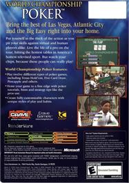 Box back cover for World Championship Poker on the Microsoft Xbox.