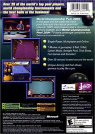 Box back cover for World Championship Pool 2004 on the Microsoft Xbox.