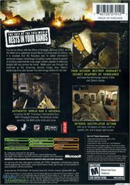 Box back cover for World War II Combat: Road to Berlin on the Microsoft Xbox.