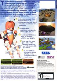 Box back cover for Worms 3D on the Microsoft Xbox.
