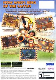 Box back cover for Worms Forts: Under Siege on the Microsoft Xbox.