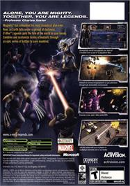 Box back cover for X-Men: Legends on the Microsoft Xbox.