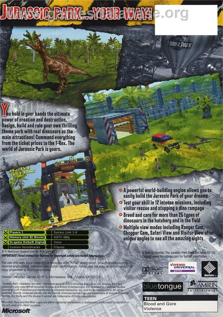 Jurassic Park: Operation Genesis - Microsoft Xbox - Artwork - Box Back