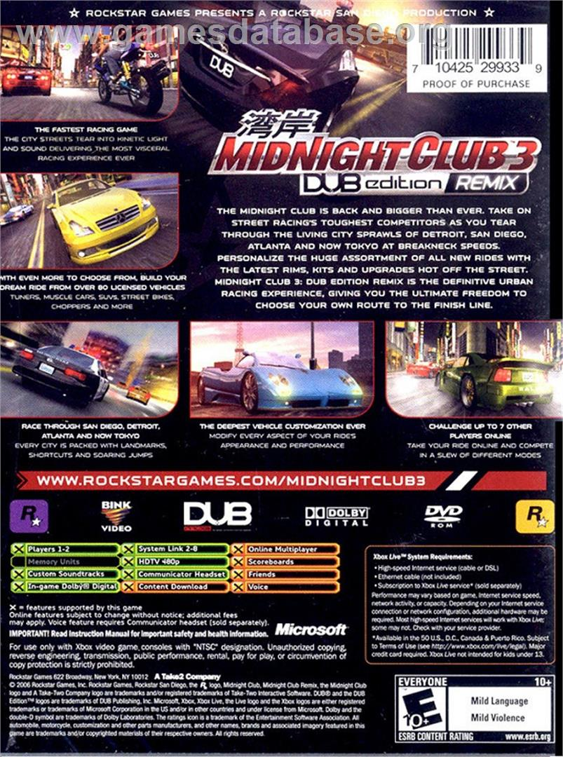 Midnight Club 3: DUB Edition Remix - Microsoft Xbox - Artwork - Box Back