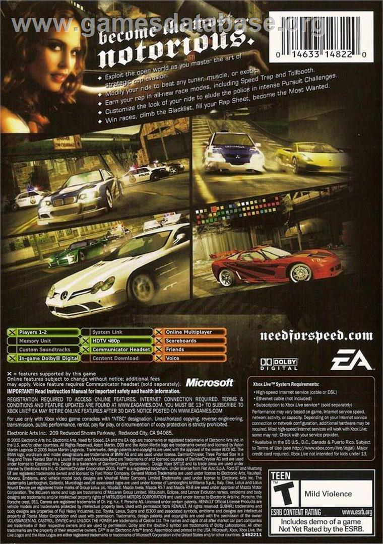 Need for Speed: Most Wanted (Black Edition) - Microsoft Xbox - Artwork - Box Back