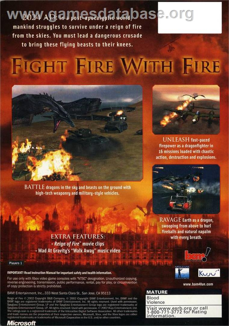 Reign of Fire - Microsoft Xbox - Artwork - Box Back