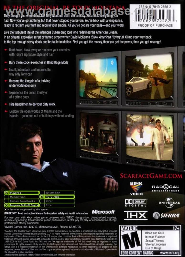 Scarface: The World is Yours - Microsoft Xbox - Artwork - Box Back