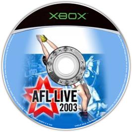 Artwork on the CD for AFL Live 2003 on the Microsoft Xbox.