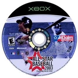 Artwork on the CD for All-Star Baseball 2003 on the Microsoft Xbox.